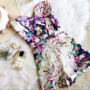 Floral watercolor romper